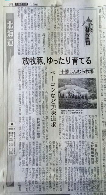 150916日本経済新聞放牧豚